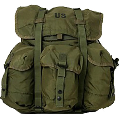 Military Outdoor Clothing Previously Issued U.S. G.I. Medium Olive Drab  Military Surplus Alice Pack with Straps 0c75c0e9945